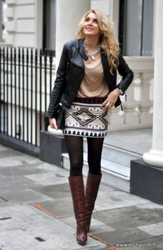 How to Wear a Skirt with Boots in the Fall!