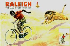 """It included a windows display in Alick Stuart (Sports goods store in Bulawayo, It was set up in a bicycle shop window with a stuffed lion . The lion would mechanically open it's mouth in a """"roar"""". Cool Bicycles, Vintage Bicycles, Raleigh Bicycle, Bicycle Art, Bicycle Shop, Bike Poster, Old Advertisements, Out Of Africa, Vintage Travel Posters"""