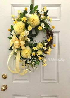 Image result for floral wreaths using white and yellow flowers