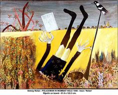 Australian Artist Sidney Nolan painted a series on Ned Kelly Australian Painting, Australian Artists, Sidney Nolan, Victoria Art, Ned Kelly, Little Lizard, True Art, Outsider Art, Heart Art