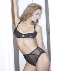 914dc151f8 SALEMA lingerie set - sheer frilly soft cup bra and see through peep bum  panties