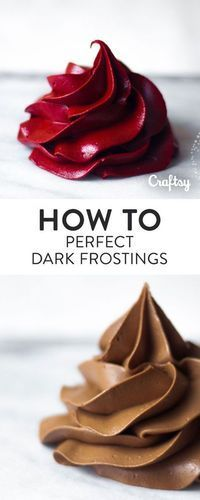 No more deep, dark frostings that taste like food coloring or loses consistency! Once your try this delicious dark frosting recipe you'll never want to go back!