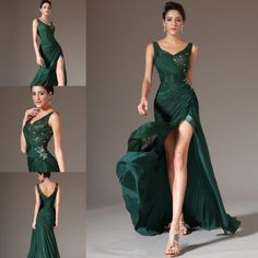 Love Love love this forest green gown. Fitted on the hips with a split