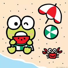 Happy first day of summer! Looks like Keroppi had a great time at the beach earlier today!