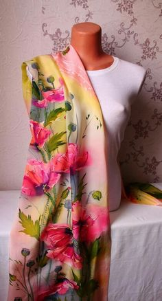 """Photo from album """"шарфы on Yandex. Iris Painting, Fabric Painting, Embroidery Suits, Hand Embroidery, Silk Dress Design, Saree Floral, Fabric Paint Designs, African Paintings, Hand Painted Fabric"""