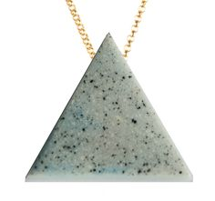 Triangle necklace in #stone effect with #gold chain.  Looks like #white #marble #grit #necklace #jewellery #jewelry
