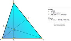 Geometry Problem 1063 Triangle, Orthocenter, Altitudes, Equal Product of the Lengths of Segments.
