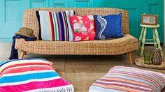 beach towel cushions - perfect summertime lounge!