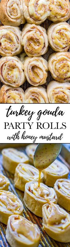 Turkey gouda party rolls Easy delicious rolls with a honey mustard glaze with a simple make-ahead option Perfect party appetizer or quick lunch Snacks Für Party, Appetizers For Party, Appetizer Recipes, Dessert Recipes, Simple Appetizers, Simple Snacks, Cold Appetizers, Party Trays, Lunch Snacks