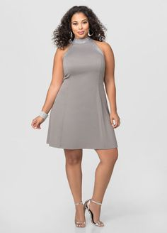 Studded Cut-Away Skater Dress Studded Cut-Away Skater Dress