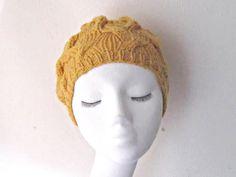 Senf-Mütze Hut gelbe Mütze HANDGESTRICKTER Mütze Windung uk