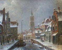 Oene Romkes de Jongh - Winters stadsgezicht (1)