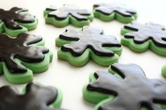 Mint Shamrock Cut Out Cookies with Chocolate Glaze Icing