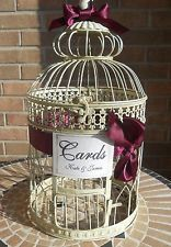XL Bird Cage Wedding Card Holder, Antique Cream Birdcage, Round Cage, Customized