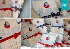 Tarjetas para Baby Shower motivo marinero, con detalles en alto relieve!