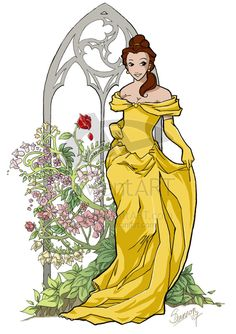 Belle by *Ysa on deviantART Disney Fan Art, Disney Love, Disney Stuff, Disney Girls, Art Nouveau Disney, Disney Belle, Disney Images, Disney Pictures, Alphonse Mucha