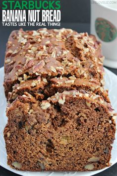Starbucks copycat banana nut bread tastes just like the real thing! This recipe is a keeper!