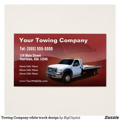 Towing Company white truck design Custom Check out more business card designs at http://www.zazzle.com/business_creations or at http://www.zazzle.com/businesscardscards