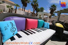 Elton John inspired custom outdoor furniture by Upholstery Works  ‪#‎patiofurniture‬ #eltonjohn #music ‪#‎upholstery‬ ‪‬‪#‎upholsteryworks‬ ‪#‎lasvegas‬ ‪#‎diy‬ ‪#‎photooftheday‬ #piano