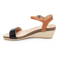 Women's Eve Wide Width Footbed Quarter Straps Wedge Sandals - Black 9.5W