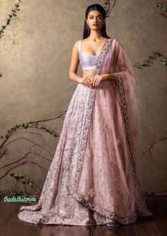 Top Picks Heavily embroidered lilac lehenga with plain raw silk blouse and sheer pink dupatta - Shyamal and Bhumika New Collection 2015 - A Little Romance - Autummn-Winter Collection 2015