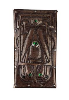 Talwin Morris (1865-1911) - Belt Buckle. Patinated & Beaten Copper with Cabochon Glass. Circa 1900. 7.5cm x 4cm.