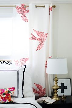 Stenciled Curtains with the Large Fly Away Stencil | Project by Brittany Makes http://www.brittanymakes.com/2014/03/14/fly-away-stenciled-curtains/
