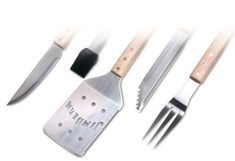 Jim Beam JB0149 5-Piece Wood Handle Grilling Tools Set in Color Box by Style Asia. $30.48. Includes BBQ tongs, Serrated edge spatula, Three prong fork, Basting brush and Grilling knife. Features long ergonomic parawood handles for maximum comfort and safety. Stainless steel tools feature triple-rivet construction for added strength. This Jim Beam 5-piece heavy-duty tool set is ideal for the professional outdoor griller. This chef's set can handle the largest of steaks and chops.