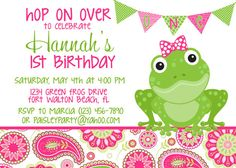Frog Pink & Green Paisley 5x7 Birthday Party by PartySoPerfect, $8.00