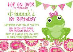 Frog Pink & Green Paisley 5x7 Birthday Party Invitation - Girl PRINTABLE