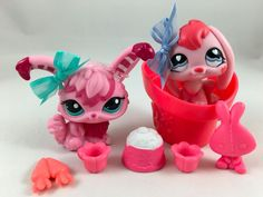 Littlest Pet Shop Cute Pair of Pink Bunnies #557 & #2132 w/Accessories #Hasbro