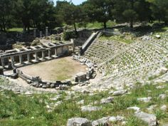 Theater, Priene. Priene was an ancient Hellenistic city in Ionia (and member of the Ionian League), located just to the north of Miletus in modern western Turkey. It was the home of an important temple dedicated to Athena.