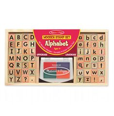 A wooden alphabet stamp set that has both upper and lower case letters, question mark, full stop, comma and exclamation mark stamps. Set also comes with a four colour stamp pad. The whole set is sold in a wooden storage tray for convenience