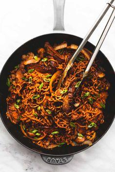 One Pan Spicy Korean Beef Noodles | lecremedelacrumb.com