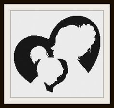 Mother and Daughter Silhouette Cross Stitch Pattern 1 by PhotoCrossStitch on Etsy