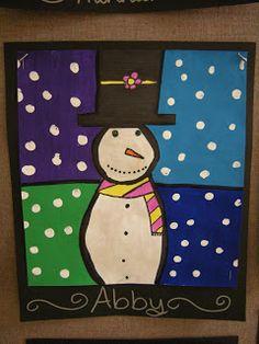Warm/Cool Snowmen Paintings grade 3