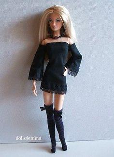 OOAK GOTH DRESS + STOCKINGS + JEWELRY for model muse & Silkstone Barbie dolls $18.00 on eBay - DOLLS4EMMA