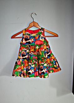 Vintage FARM ANIMAL PRINT Girls Dresssize 12 to 24 by retroandme