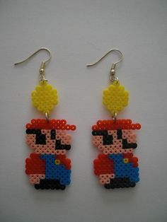 Mario earrings hama perler beads by Orianne22 on DaWanda