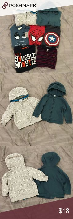 "5x Long-Sleeve Shirts + 2x Hoodies (18 months) Size 12-18 Months or equivalents. All clean and washed/worn 1-3 times each.  * 2x Zip-up hoodies: Gymboree gray monster print (6-12 Months, but runs large) + Old Navy waffle knit in dark teal * 2x Old Navy tees: Spider-Man & Captain America layered-look tees * Gymboree ""snuggle monster"" heavy weight tee * Gap navy/red stripe henley  * Zara ""sleepless parents"" tee (12-18m but runs small) Will throw in Old Navy ""1"" short sleeve tee (12-18M) with…"