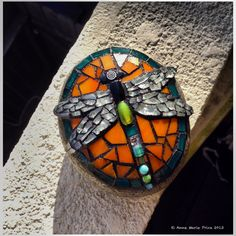 Dragonfly Mosaic by Anne Marie Price #mosaic #art #mosaicart #AMP #rock #stainedglass #glass #dragonfly #bug #ampriceart #CA #socal #huntingtonbeach #HB www.ampriceart.com ~SOLD~