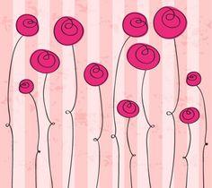mão abstrato desenhado romântico flores gráfico vetorial