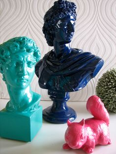 Apollo Bust Statue in glossy navy blue.