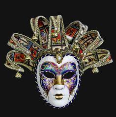 Jolly Arcobaleno Tarot - the Fool tarot cards Masquerade Ball Party, Masquerade Costumes, Carnival Masks, Carnival Costumes, Jester Mask, Mask Face Paint, Circus Outfits, Cool Masks, Polymer Clay Dolls