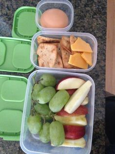 Meal Prepping 101 - Week 5 Meal Prep - Apples, Grapes, Kashi Sea Salt Crackers, Cheddar Cheese and a Hard Boiled Egg. I think this is my healthiest week yet, getting better at eating clean!