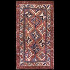 Caucasian - Kazak Rug - 6445 | Caucasian 4' 4'' x 8' 0'' | Red, Origin Russia…