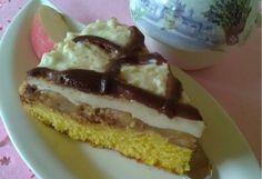 Jemný koláč s karamelizovanými jablkami a krémom (fotorecept) Pancakes, Cheesecake, Pudding, Treats, Breakfast, Sweet, Recipes, Basket, Sweet Like Candy