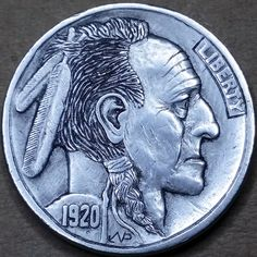 NARIMANTAS PALSIS HOBO NICKEL - 1920 BUFFALO PROFILE Hobo Nickel, Coin Art, Indian Artifacts, Metal Clay Jewelry, Old Coins, Coin Collecting, Art Forms, Sculpture Art, Buffalo