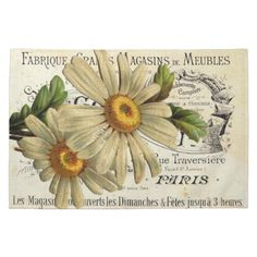 Vintage French Chic Botanical Daisy Kitchen Towels