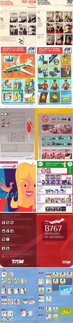Discovering Design Aesthetics in the Aircraft Safety Cards #Safetycard #Branding #Graphic #Illustration #Inflight